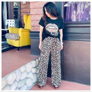 Leopard Print belted side pockets Wide Leg pants